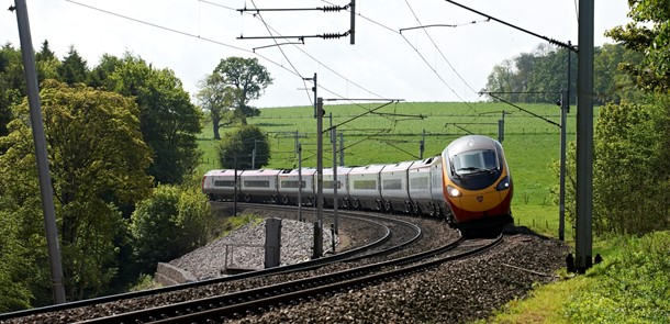 High speed tilting train negotiating a curve made from British Steel HP335 wear and rolling contact fatigue resistant rail in the UK.