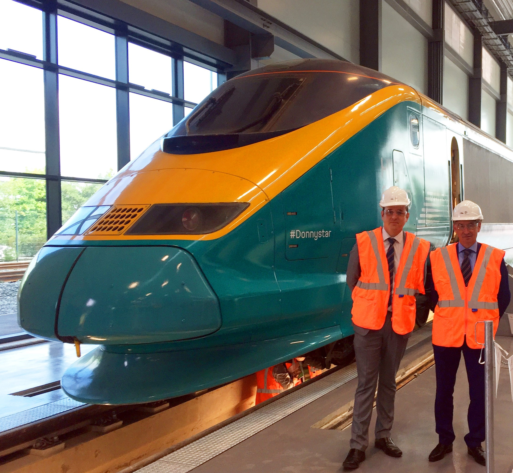 The National College for High Speed rail in Doncaster, with rail supplied by British Steel. Pictured are John Austin, British Steel Key Account Manager (Rail), and Peter Smith, British Steel Managing Director Rail