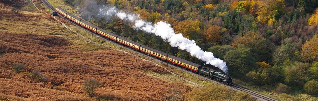 North Yorkshire moors heritage steam railway passing through some stunning countryside
