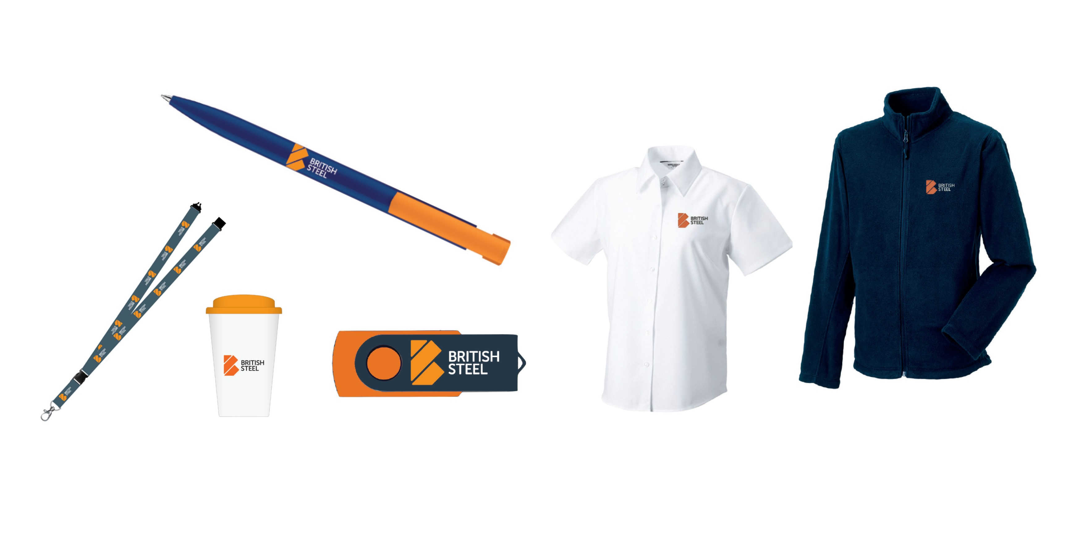 Some of the British Steel merchandise available to order includes pens, USBs, shirts, fleeces and mugs