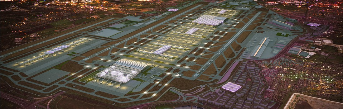 An artist's impression of what Heathrow's third runway would look like. British Steel's Scunthorpe site has been named as a potential site for a logistics hub which would support the airport's expansion.