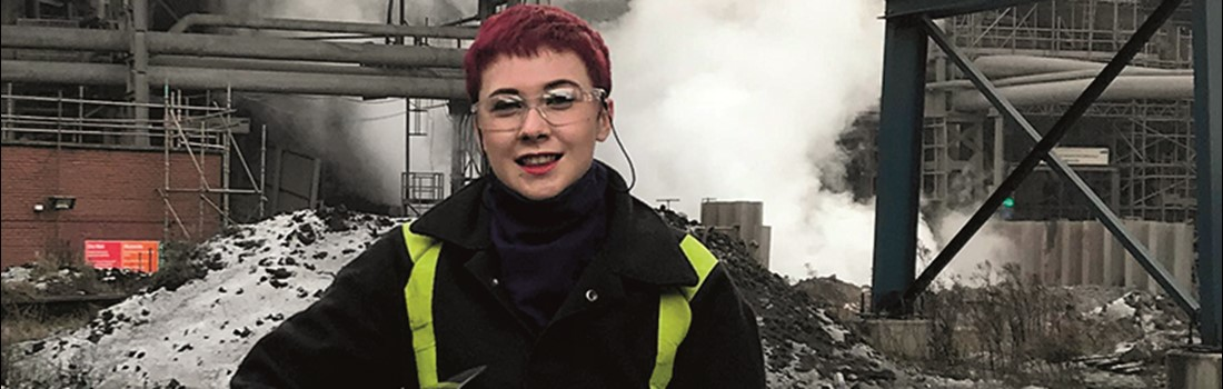 Lucy Smith in front of the blast furnaces