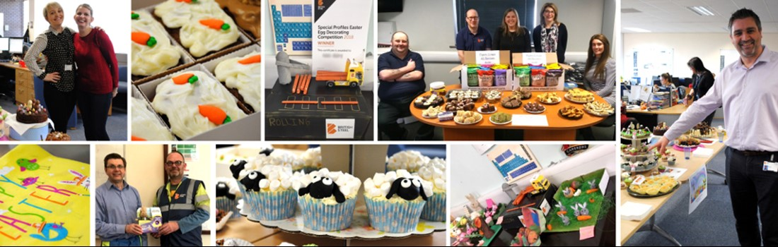 British Steel employees getting involved in Easter fundraising activities.