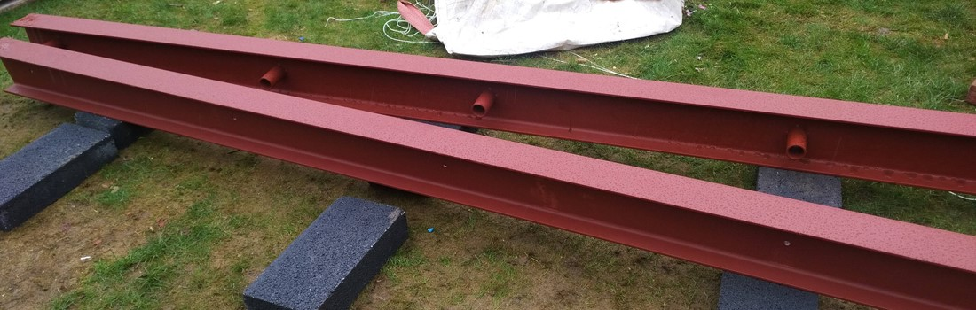 British Steel 178x102 S355JR beams in Colin's garden.