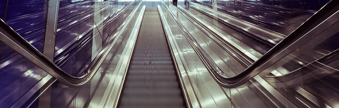People using both sides of the escalators as part of a continuous improvement experiment.