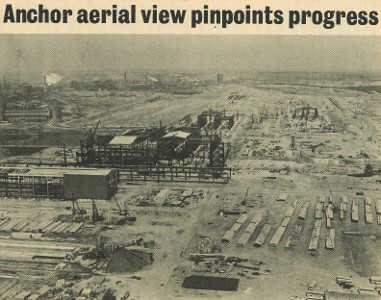 Ariel view of steelworks in 1970s