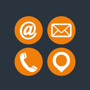 Contact icons for email, letters, telephone, and locations