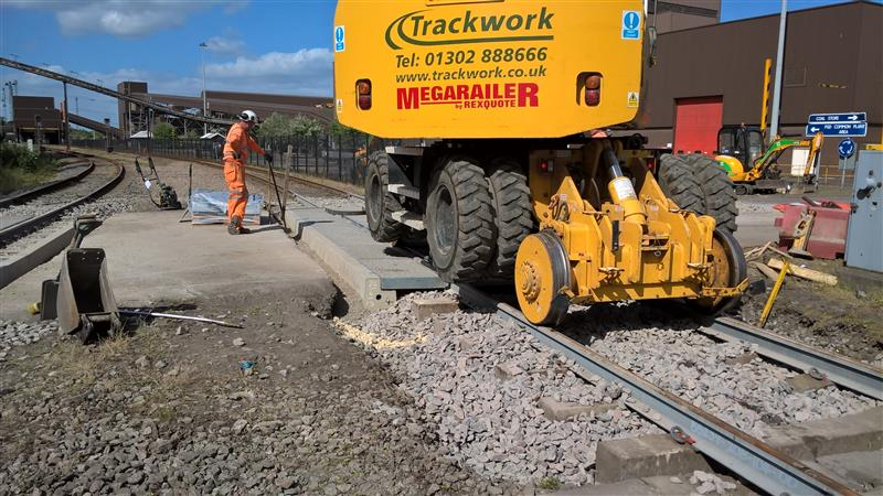Trackwork installing Zinoco rail and road crossing at Drax Power station