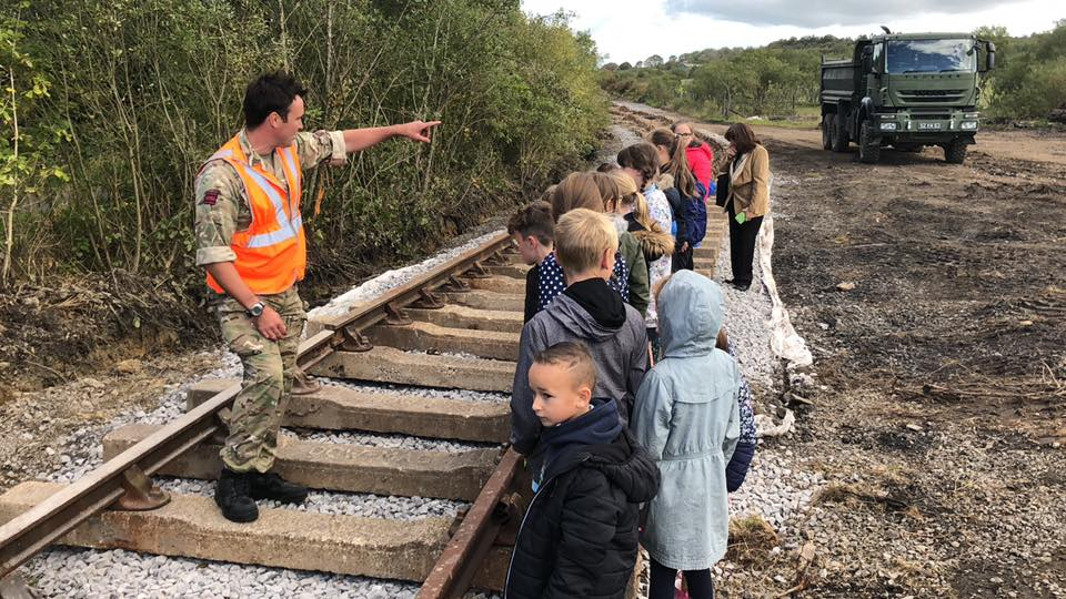 Royal engineers 507 STRE teaching local school children in Llanelli about railway construction