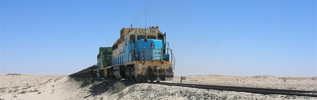 Heavy haul freight railway transporting bulk materials in Mauritania