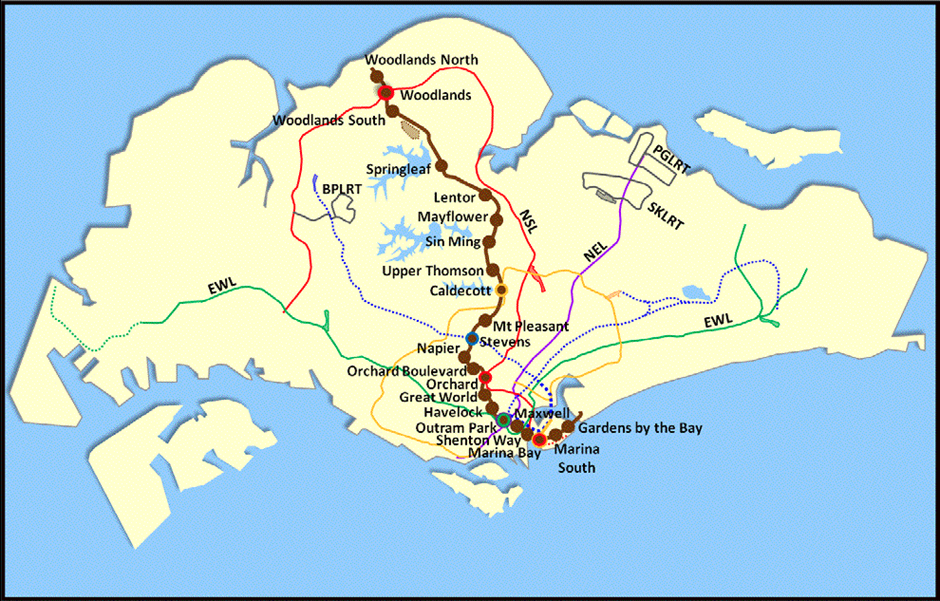 Thomson East coast line map - Singapore MRT