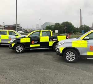 Triton Security vehicles on British Steel's Scunthorpe site