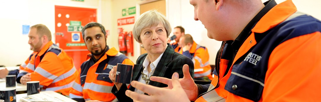 British Steel employees talking about the steel works with Theresa May.