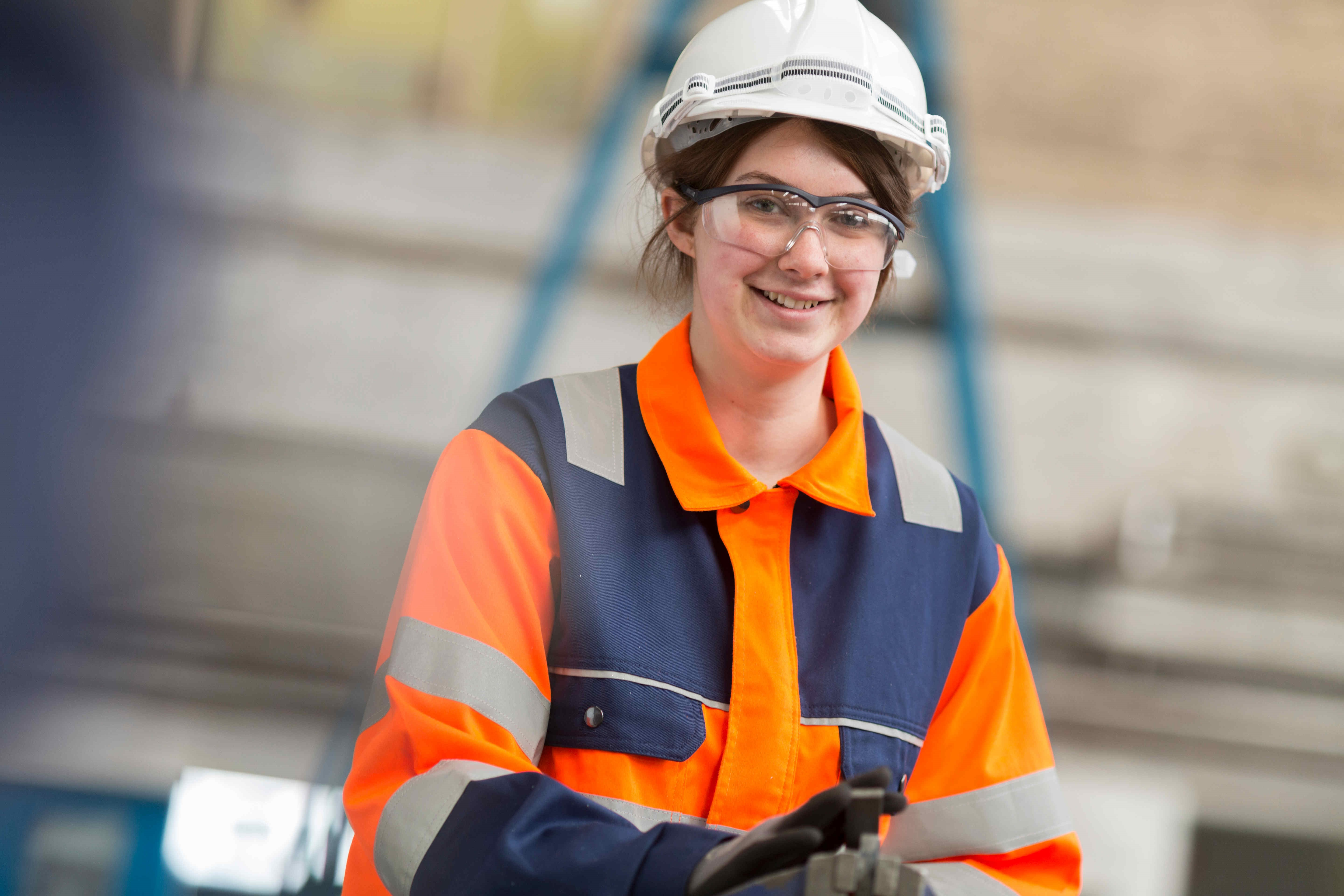 One of our female employees working in the manufacturing and engineering industry.